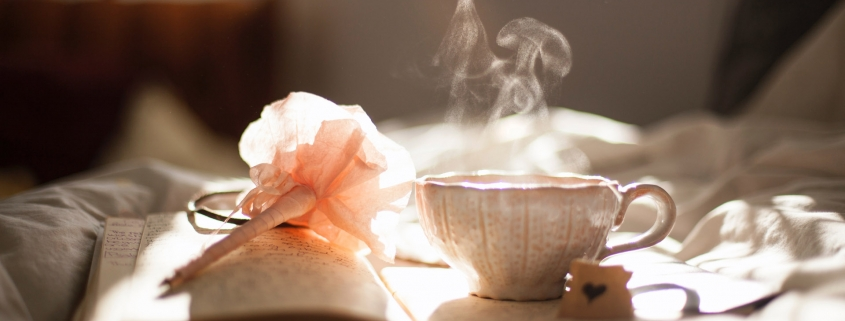 Tea cup and journal