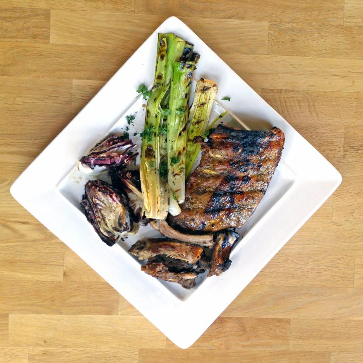 AIP Grilled Pork Ribs with Maple Glaze with Grilled Leeks and Radicchio