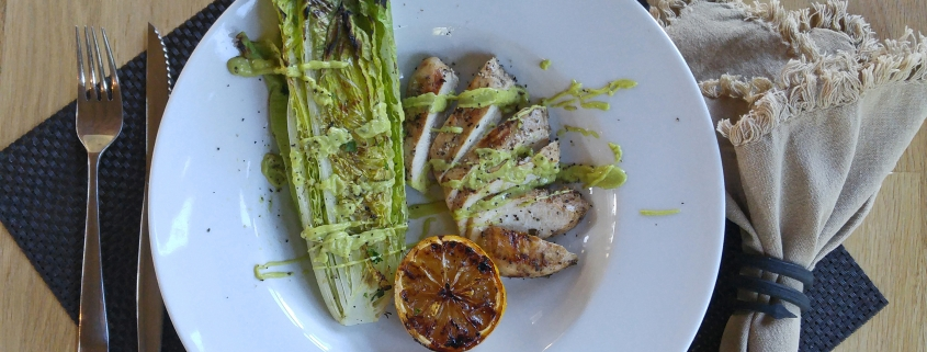 AIP Grilled Chicken and Romaine with Creamy Avocado Caesar Dressing