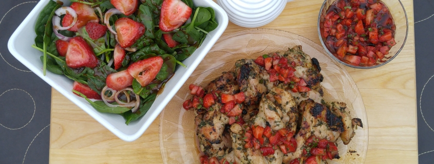Herb-Marinated Chicken Thighs with Strawberry Balsamic Salsa